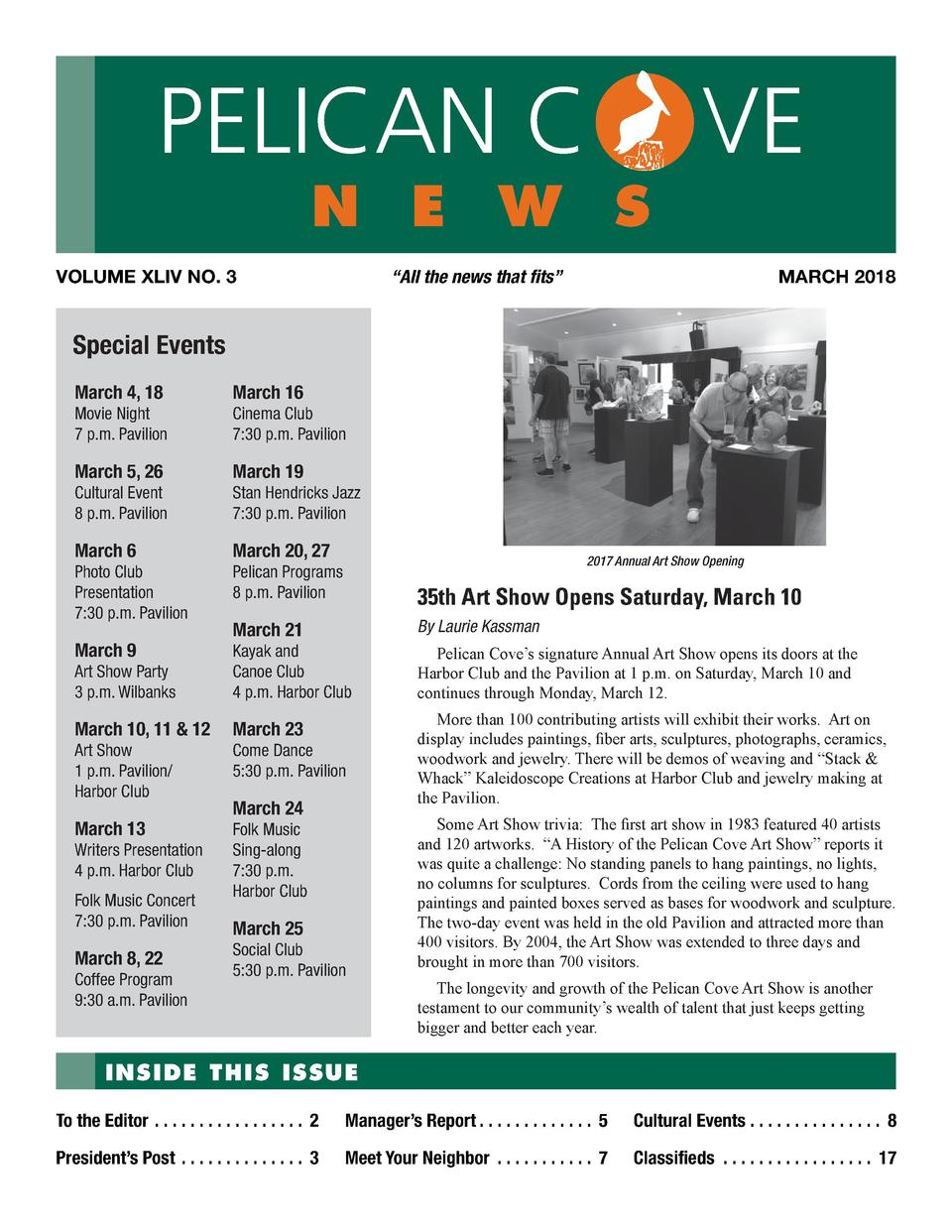 PELICAN C  n e w s  VOLUME XLIV NO. 3  VE MARCH 2018     All the news that fits     Special Events March 4, 18  March 16  ...